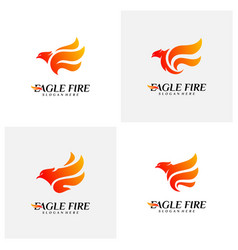 set of phoenix fire bird logo design concepts vector image