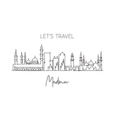 Single continuous line drawing medina skyline vector