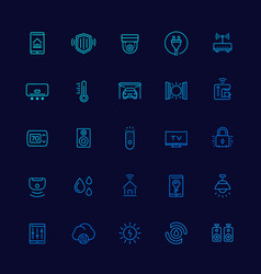 Smart house and home automation icons line vector