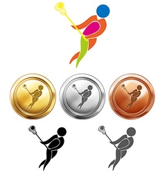 Sport medals for lacrosse vector image