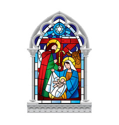 stained glass window depicting christmas scene in vector image