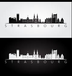 strasbourg skyline and landmarks silhouette vector image