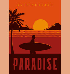 surfing beach paradise poster in vintage vector image