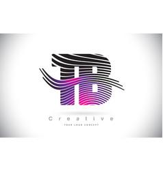 Tb t b zebra texture letter logo design vector