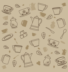 tea patterns background vector image