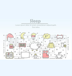 thin line art sleep poster banner template vector image