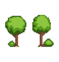 tree pixel plant object set vector image
