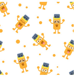 usb seamless pattern funny flash drive cartoon vector image