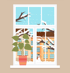 View outside window winter cityscape and frost vector