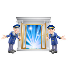 Vip doormen and entrance door vector