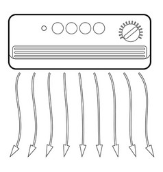 Wall heater icon outline style vector