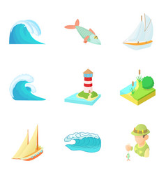 Water freedom icons set cartoon style vector
