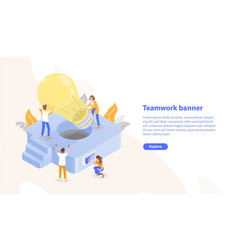 Web page template with group of people putting vector