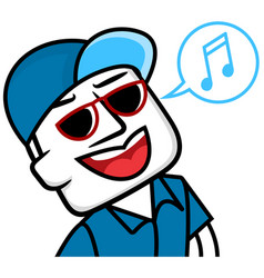 white man cartoon smile and singing vector image