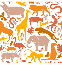 Wild africa safari animal icon seamless pattern vector