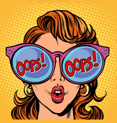 woman oops pop art vector image