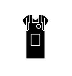 work apron black icon sign on isolated vector image
