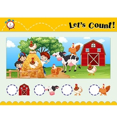 Worksheet design for counting animals vector