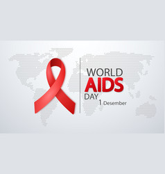 world aids day 1 december poster with red ribbon vector image
