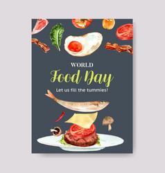 World food day poster design with fried egg fish vector