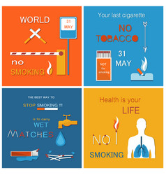 world no tobacco day set asking to atop smoking vector image