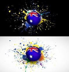 australia flag with soccer ball dash on colorful vector image vector image