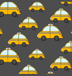 cartoon nyc taxi pattern cute yellow cab cars vector image