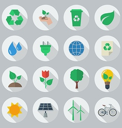Eco Flat Icon Set vector image vector image