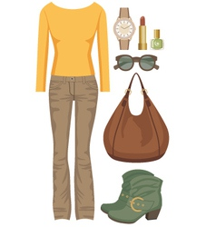 Fashion set with jeans and a sweater vector image vector image