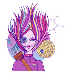 girl symbolizes the zodiac sign sagittarius vector image