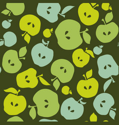 green simple flat apple fruit seamless pattern for vector image