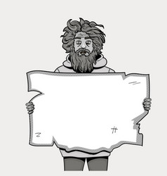 homeless man with paper sign pop art style vector image