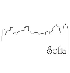 sofia city one line drawing background vector image vector image
