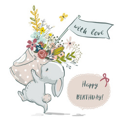cute little bunny with flower wreath vector image vector image