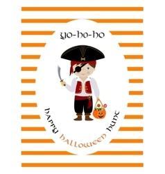 Happy halloween hunt card with cute pirate vector image