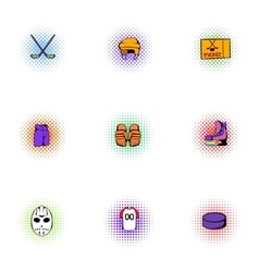 Ice fight icons set pop-art style vector