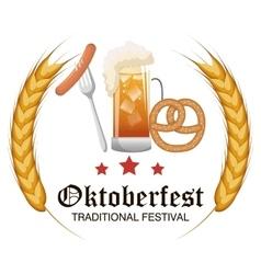 oktoberfest food traditional label design vector image