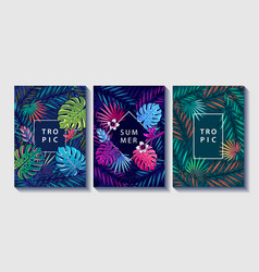 tropical leaves and flowers design posters set vector image