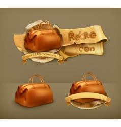 Vintage bag icon vector