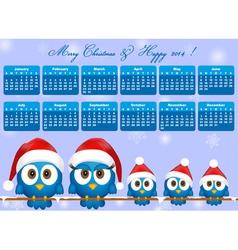 2014 calendar with funny blue birds family vector image vector image