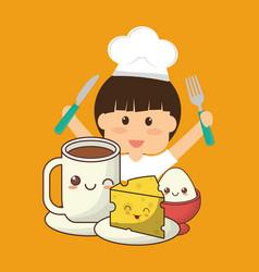 Chef boy fork knife breakfast cheese egg vector