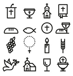 church and christian community flat outline icons vector image