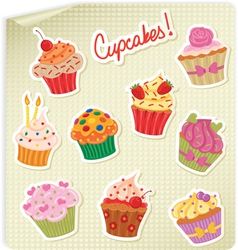 cupcakes stick vector image vector image