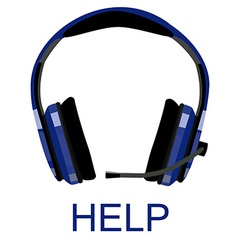 Headphones with text help vector image
