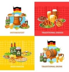 Oktoberfest Concept 4 Flat Icons Square vector image