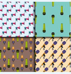 retro microphones seamless pattern journalist vector image