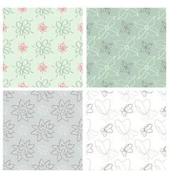 Set of four flower patterns vector image vector image