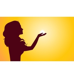 Sunset silhouette of woman vector image vector image