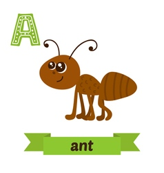 Ant A letter Cute children animal alphabet in vector image