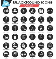 Garden circle white black icon set Ultra vector image